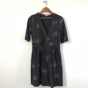 Boden floral print jersey v neck dress US 8